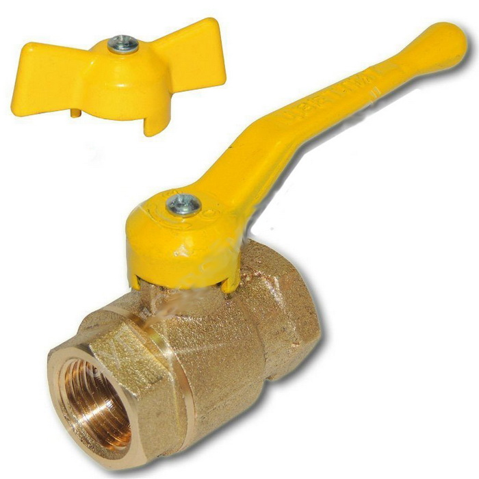 Кран газовый шаровый 11Б27П Ду15 бабочка/ручка