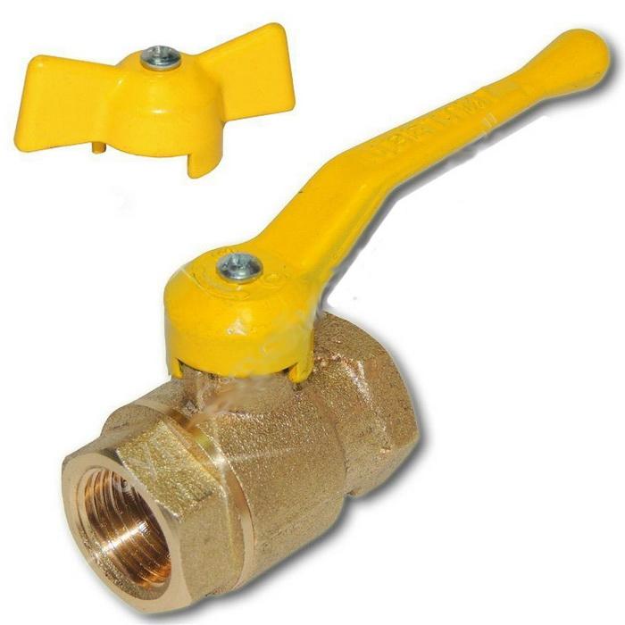Кран газовый шаровый 11Б27П Ду20 бабочка/ручка